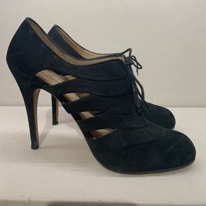 Valentino Suede Cutout Lace-up Booties.